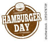 hamburger day sign or stamp on... | Shutterstock .eps vector #1392478739