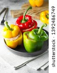 colorful stuffed peppers with...   Shutterstock . vector #1392486749