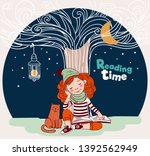 cute  funny girl reads a book... | Shutterstock .eps vector #1392562949