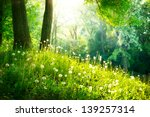 Stock photo spring nature beautiful landscape park with green grass and trees tranquil background 139257314