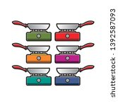 colorful stove with pan... | Shutterstock .eps vector #1392587093