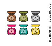 colorful kitchen scale icon... | Shutterstock .eps vector #1392587096