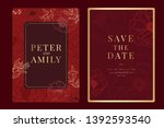 red chinese wedding invitation  ... | Shutterstock .eps vector #1392593540