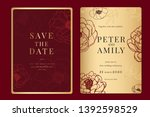 chinese red wedding invitation  ... | Shutterstock .eps vector #1392598529