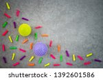 colorful balloons and rubber... | Shutterstock . vector #1392601586