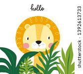 cute lion cartoon vector... | Shutterstock .eps vector #1392613733