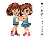two lovely happy best friends... | Shutterstock .eps vector #1392628700
