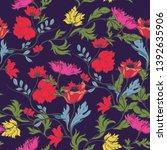 beautiful seamless floral... | Shutterstock .eps vector #1392635906