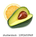 lemon and avocado isolated on... | Shutterstock . vector #1392653969