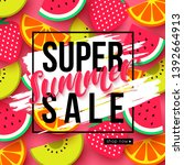 summer sale background with... | Shutterstock .eps vector #1392664913