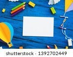 olourful toy bricks  paper... | Shutterstock . vector #1392702449