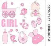 baby girl shower design elements | Shutterstock .eps vector #139270280