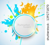 Ramadan Kareem text with badge on grungy colorful background.