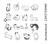 cute hand drawn doodle cats... | Shutterstock .eps vector #1392753989