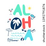 hand drawing summer  cute icons ... | Shutterstock .eps vector #1392791876