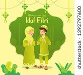 selamat hari raya idul fitri... | Shutterstock .eps vector #1392797600