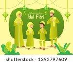 selamat hari raya idul fitri... | Shutterstock .eps vector #1392797609