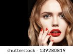 beautiful young woman with red... | Shutterstock . vector #139280819