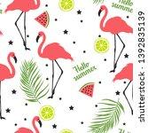 summer pattern. flamingo palm... | Shutterstock .eps vector #1392835139