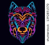 neon art of wolf from abstract... | Shutterstock .eps vector #1392851570