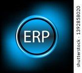 erp neon button  blue and black ... | Shutterstock .eps vector #1392858020