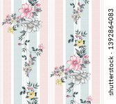 seamless flower and stripes... | Shutterstock .eps vector #1392864083