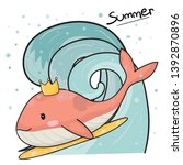 cute pink whale with crown on... | Shutterstock .eps vector #1392870896
