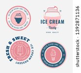 set of ice cream shop labels ... | Shutterstock .eps vector #1392871136