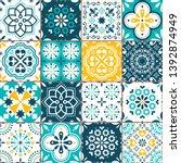 lisbon azujelo vector seamless... | Shutterstock .eps vector #1392874949