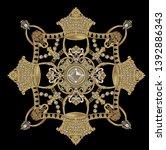 golden elements in baroque ... | Shutterstock . vector #1392886343