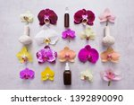 bottle of essential oil with... | Shutterstock . vector #1392890090