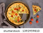 vegetable quiche with zucchini  ... | Shutterstock . vector #1392959810