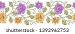 Seamless Textile Floral Border...