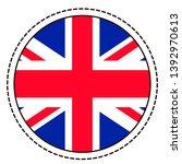 great britain flag sticker on... | Shutterstock .eps vector #1392970613