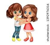 two lovely happy best friends... | Shutterstock .eps vector #1392976316