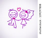 hand drawn wedding couple on... | Shutterstock . vector #139297808