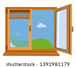 an airy open wooden window with ... | Shutterstock .eps vector #1392981179