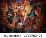 Music Quartet Oil Painting Wit...