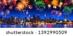 manhattan skyline panorama at... | Shutterstock . vector #1392990509