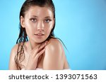 nice woman in bath towel with... | Shutterstock . vector #1393071563