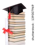 grad hat with diploma and books ... | Shutterstock . vector #139307969