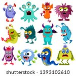 cute cartoon colorful mosters... | Shutterstock . vector #1393102610