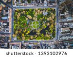 St. Stephens Green park in Dublin view from the air