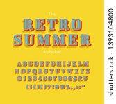 vector summer font and alphabet.... | Shutterstock .eps vector #1393104800
