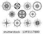 vintage compass. nautical map... | Shutterstock . vector #1393117880