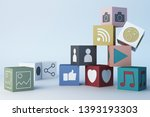 colourful emojis icons and... | Shutterstock . vector #1393193303