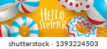 hello summer web banner of 3d... | Shutterstock .eps vector #1393224503