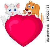 Stock vector cute dog and cat cartoon holding love heart 139323413