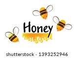 cartoon bees and honey flow... | Shutterstock .eps vector #1393252946