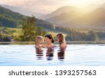mother and kids play in outdoor ... | Shutterstock . vector #1393257563
